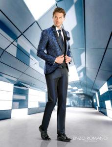 traje de novio azul enzo romano fashion
